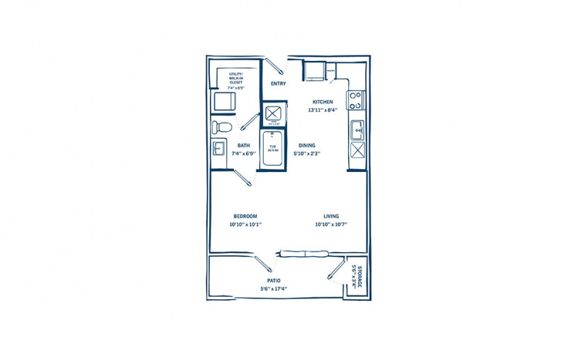 E1-H - Studio floorplan layout with 1 bath and 527 square feet.