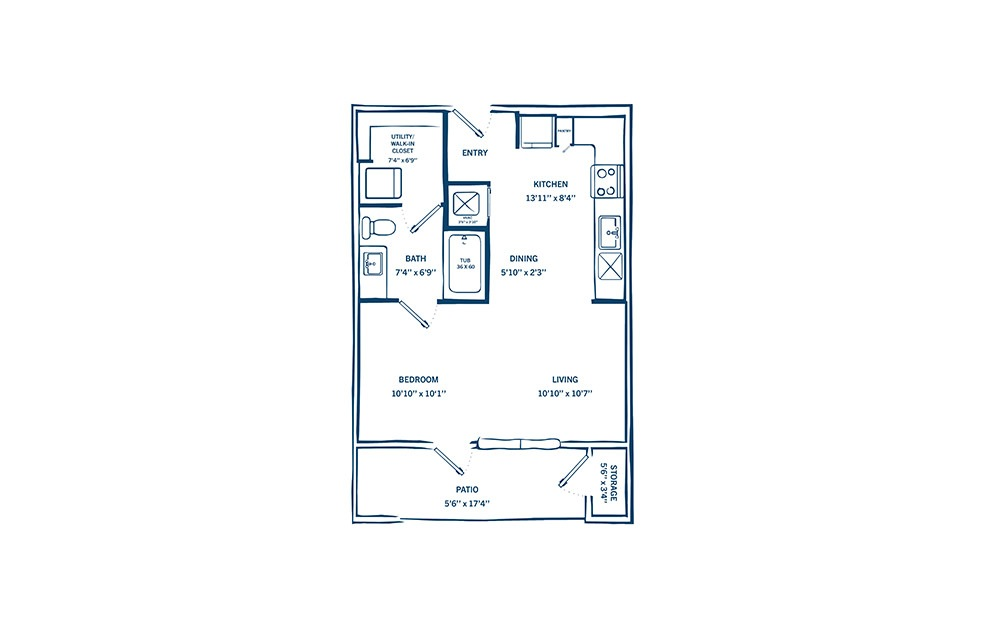 E1H - Studio floorplan layout with 1 bath and 641 square feet. (Preview)