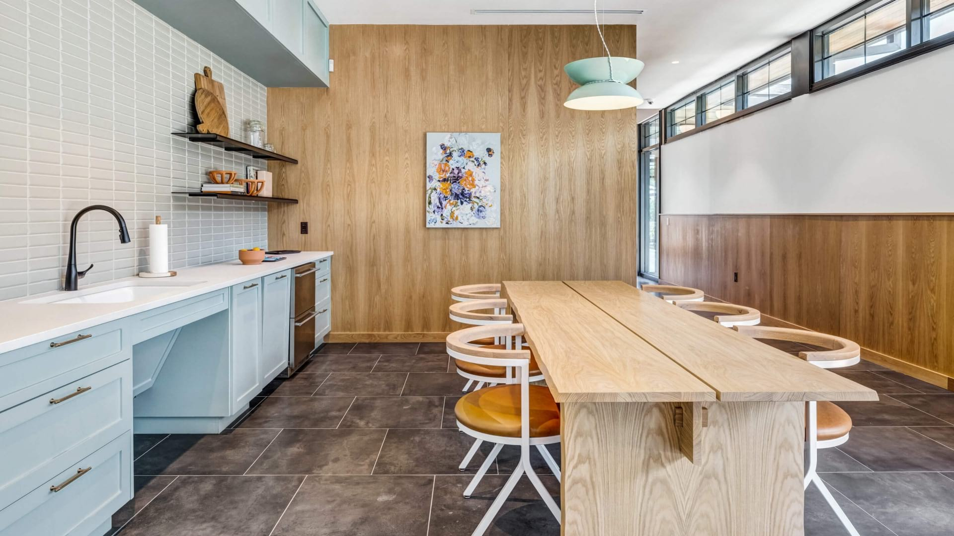 Resident kitchen with large dining area