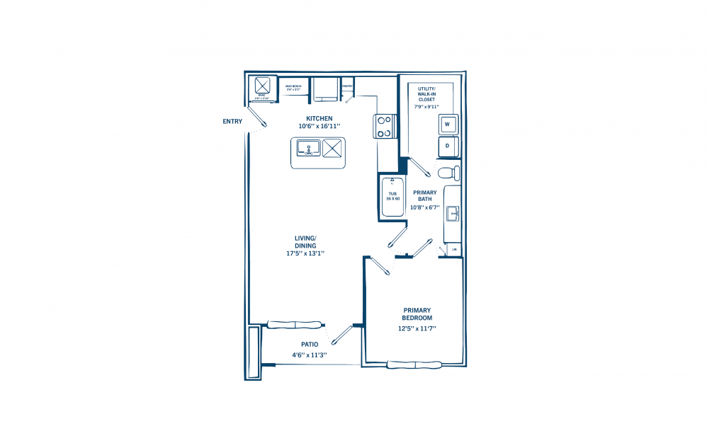 A1 - 1 bedroom floorplan layout with 1 bath and 715 to 834 square feet. (Preview)