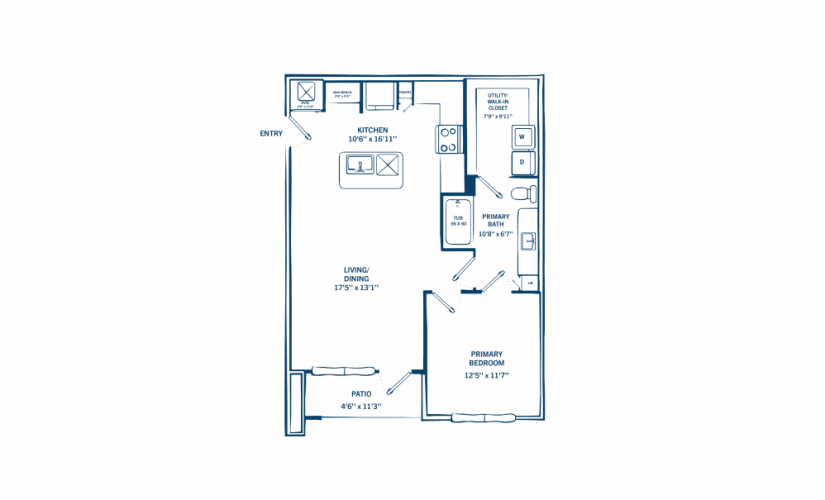 A1 - 1 bedroom floorplan layout with 1 bath and 653 to 772 square feet.