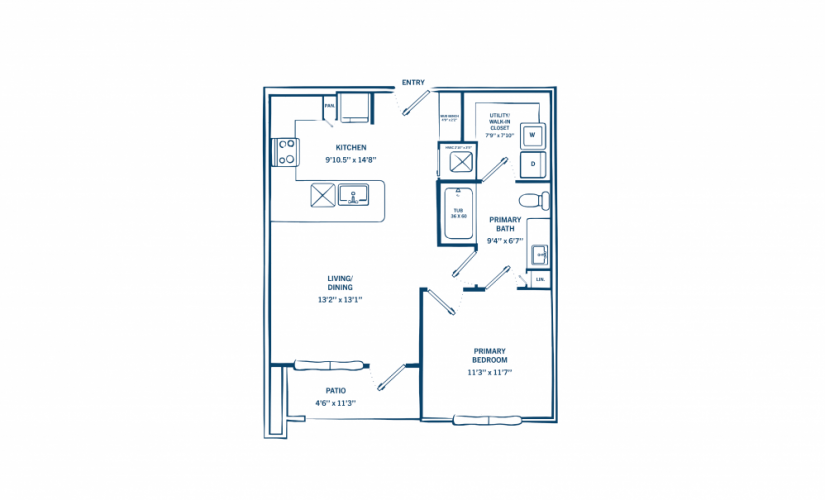 A1C - 1 bedroom floorplan layout with 1 bath and 636 square feet.