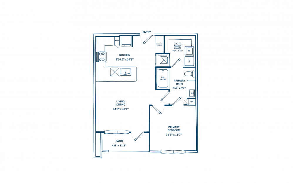 A1C - 1 bedroom floorplan layout with 1 bath and 698 square feet. (Preview)