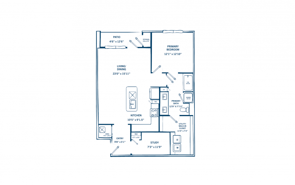 A3 - 1 bedroom floorplan layout with 1 bath and 1031 to 1051 square feet. (Preview)