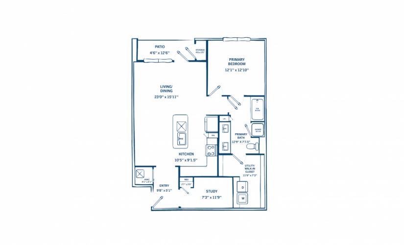 A3 - 1 bedroom floorplan layout with 1 bath and 960 to 979 square feet.