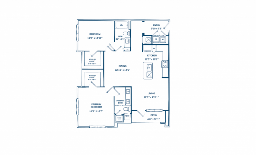 B1 - 2 bedroom floorplan layout with 2 baths and 1176 to 1236 square feet.