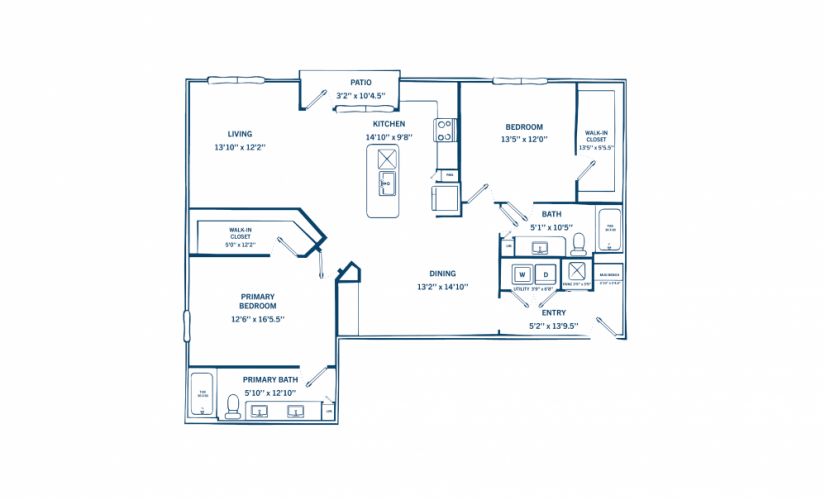 B2 - 2 bedroom floorplan layout with 2 baths and 1432 to 1504 square feet.