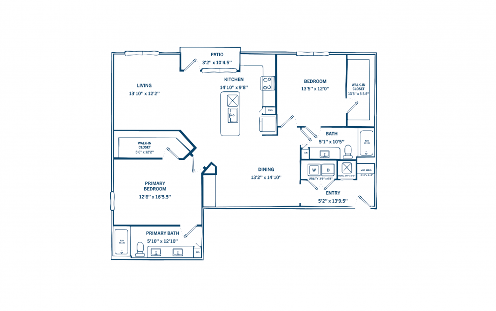B2 - 2 bedroom floorplan layout with 2 baths and 1218 to 1548 square feet. (Preview)