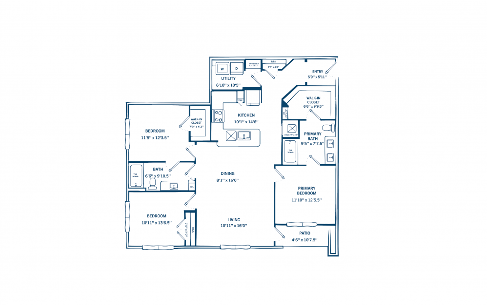 C1 - 3 bedroom floorplan layout with 2 baths and 1374 to 1412 square feet. (Preview)