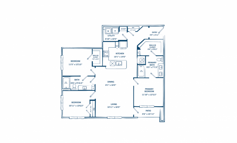 C1 - 3 bedroom floorplan layout with 2 baths and 1374 to 1412 square feet.