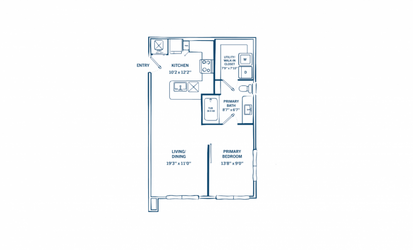 E1 - 1 bedroom floorplan layout with 1 bath and 590 to 605 square feet.