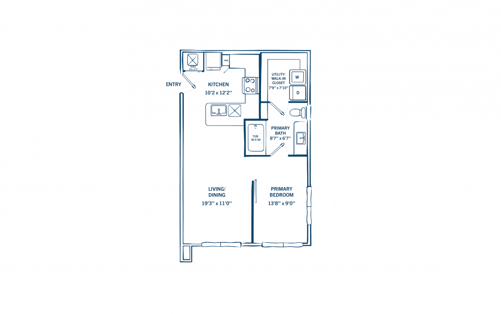 E1A - Studio floorplan layout with 1 bath and 590 to 605 square feet. (Preview)
