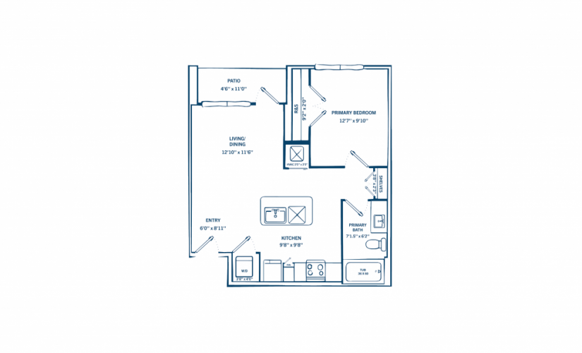 E2 - 1 bedroom floorplan layout with 1 bath and 652 to 692 square feet.