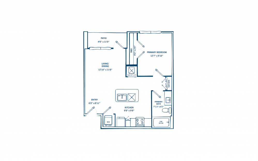 E2 - 1 bedroom floorplan layout with 1 bath and 652 to 692 square feet. (Preview)