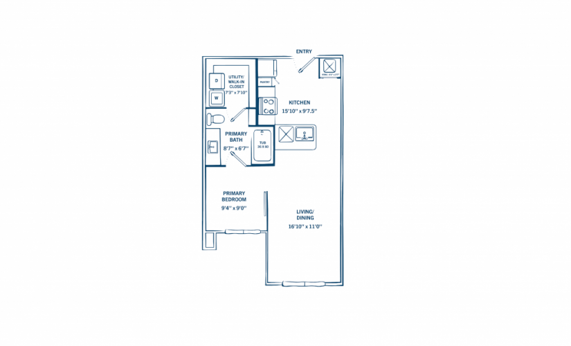 E3 - 1 bedroom floorplan layout with 1 bath and 590 square feet.