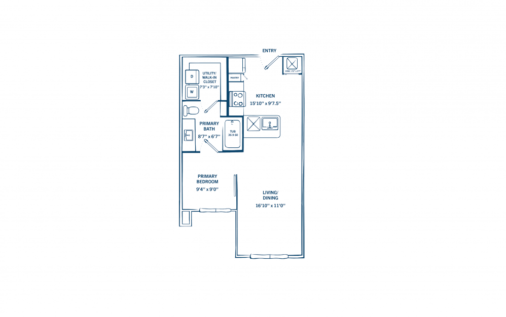 E3 - 1 bedroom floorplan layout with 1 bath and 590 square feet. (Preview)